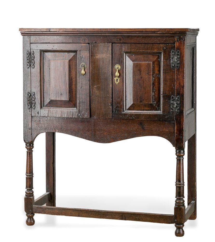 19th C. English Oak 2 Door Cabinet on Turned Legs