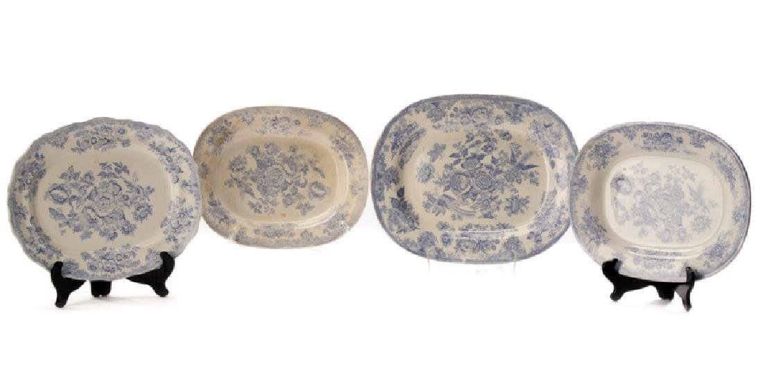 "4 Staffordshire B/W ""Asiatic Pheasant"" Platters"