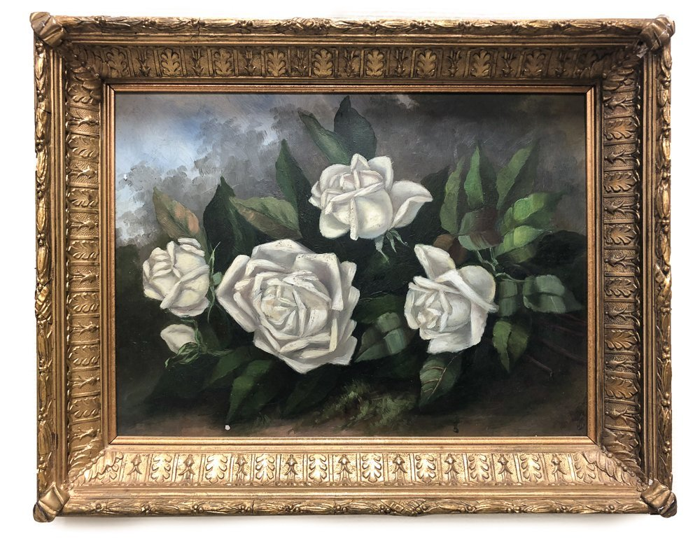 "Attributed to Sylvia Stetson ""White Roses"" O/B"