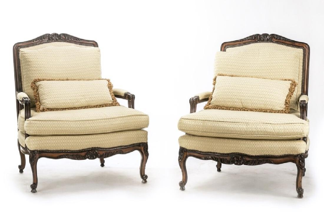 "Pair, E.J. Victor ""Montaigne"" Bergere Chairs"