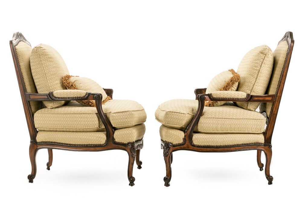 """Pair, E.J. Victor """"Montaigne"""" Bergere Chairs - 2"""