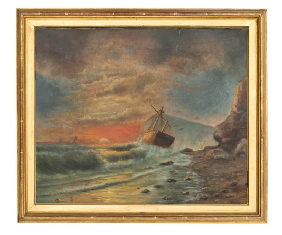 """Shipwreck at Sunset"", 19th C. American O/C"