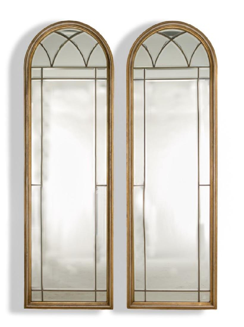 Pair, Large LaBarge Arched Beveled Mirrors
