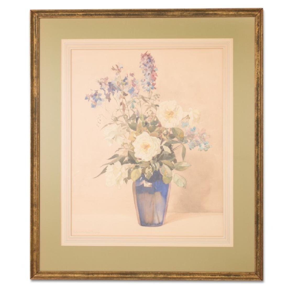 "Nelly L. Murphy, ""Roses & Delphiniums,"" Watercolor"