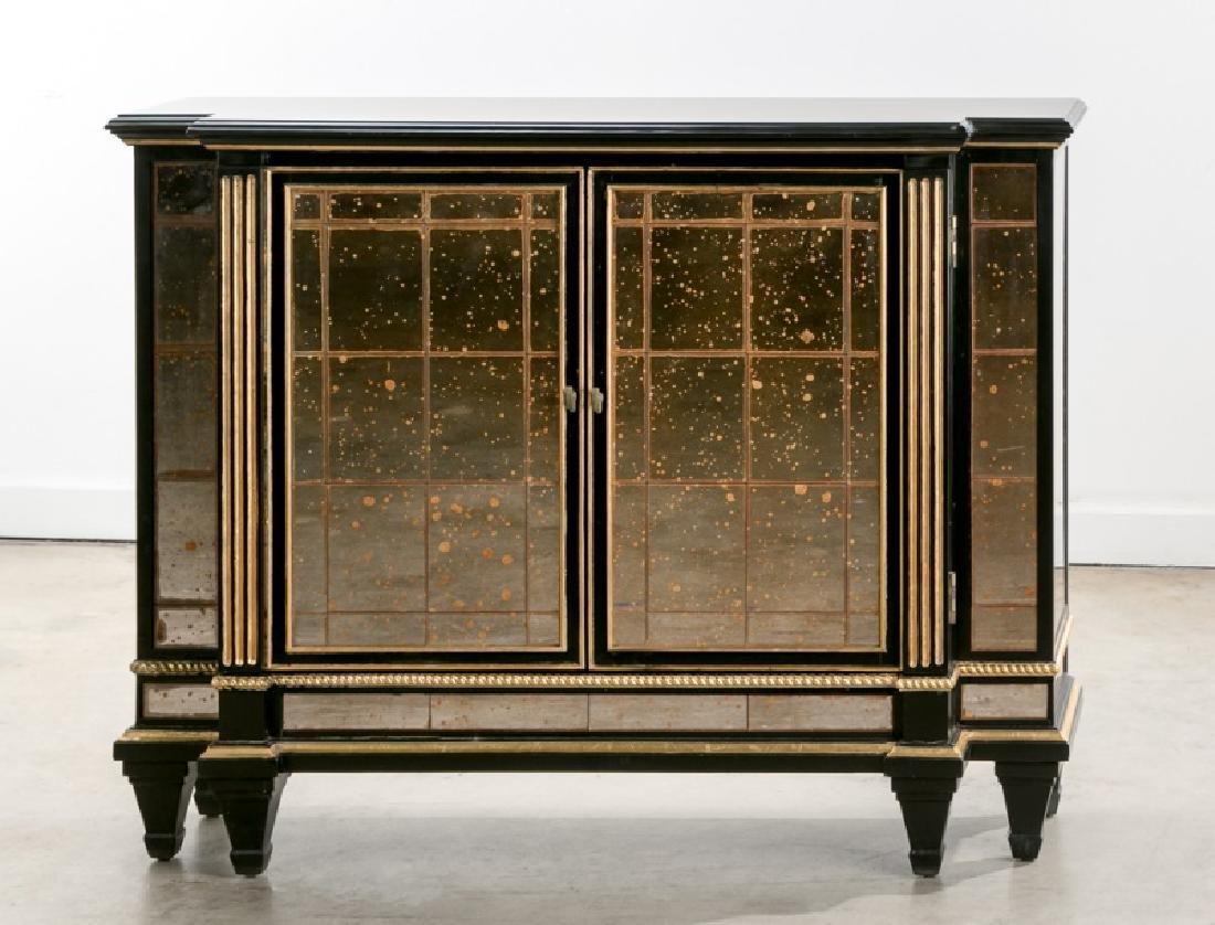 Ebonized & Parcel Gilt Mirrored Console Cabinet