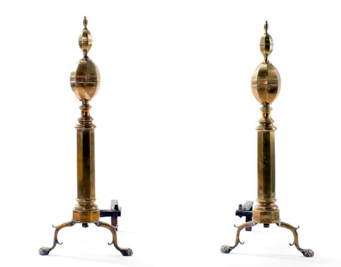 Pair of Brass Triple Lemon Andirons, Early 20th C.