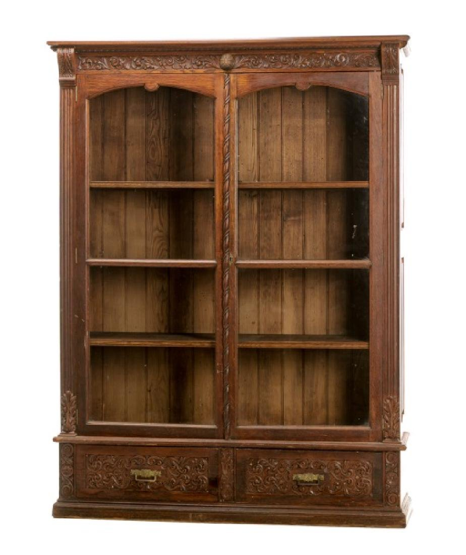 Large Golden Tiger Oak Bookcase Cabinet