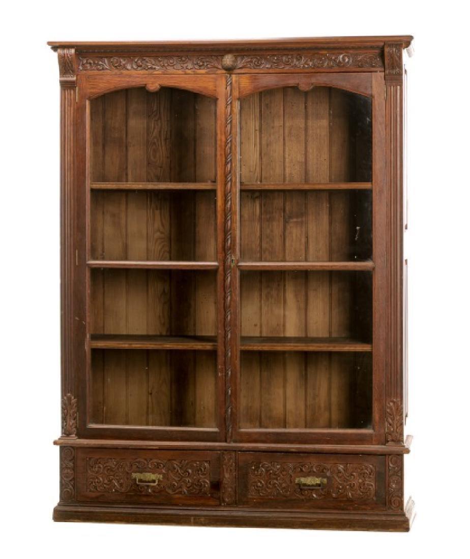 Large Golden Tiger Oak Bookcase Cabinet