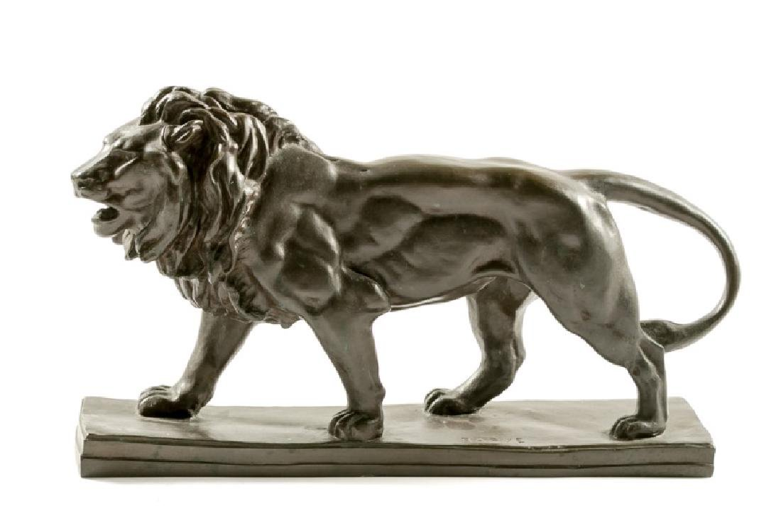 Barye Signed Bronze Figure of Standing Lion