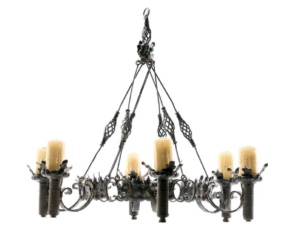 Continental Wrought Iron 6-Light Chandelier