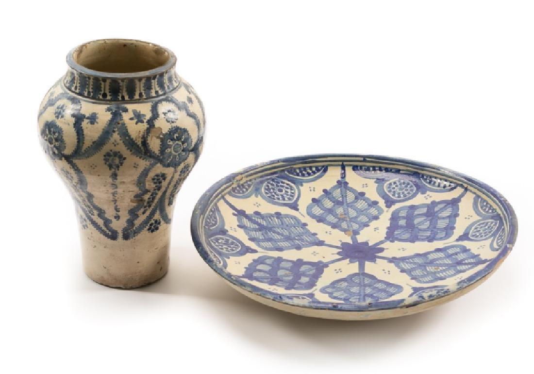 Group of Spanish Blue & White Tin Glazed Pottery