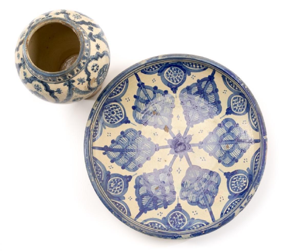 Group of Spanish Blue & White Tin Glazed Pottery - 2