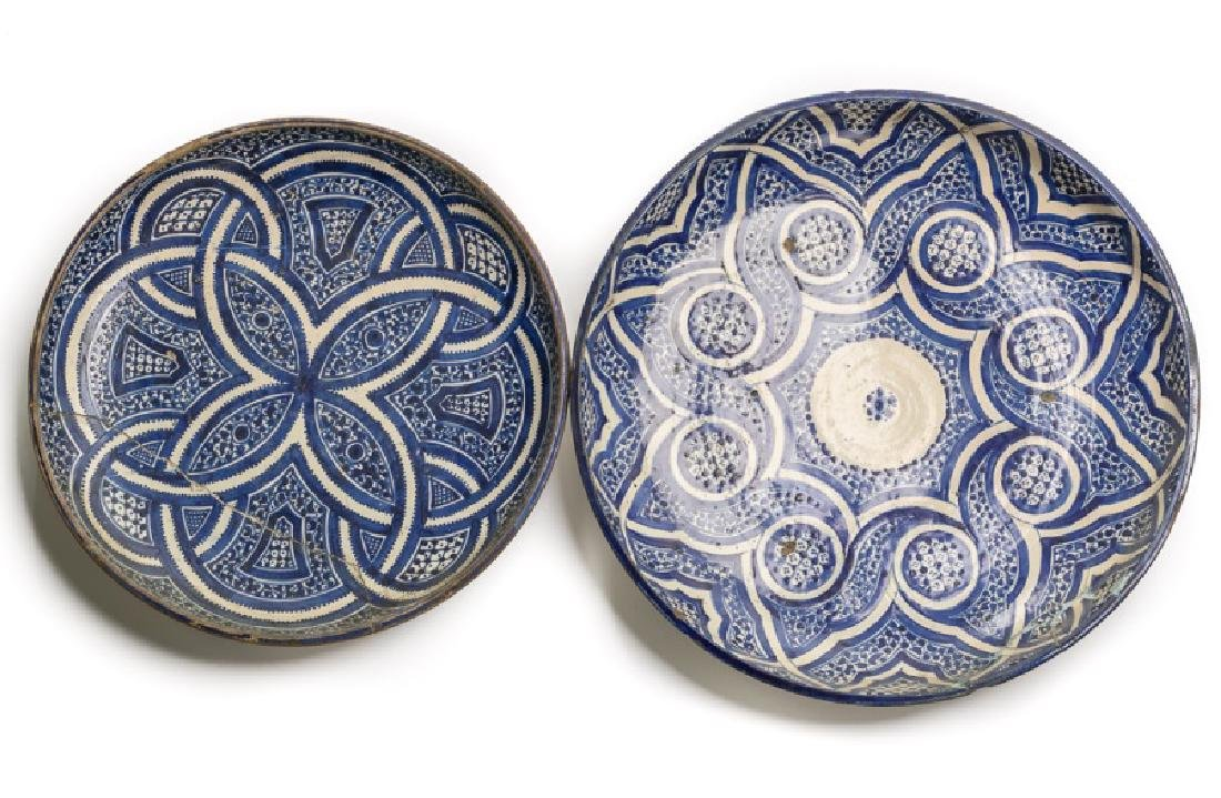 Two 19th C. Blue & White Islamic Pottery Dishes