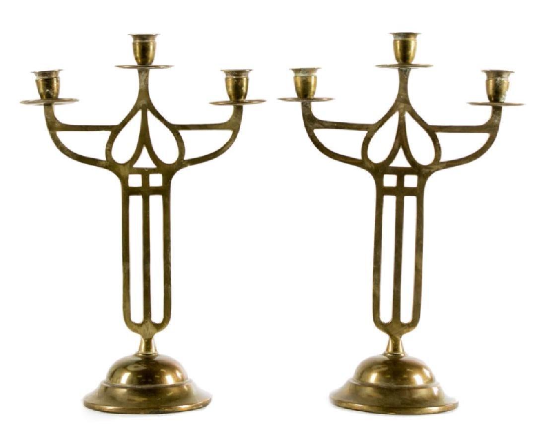 Pair, Art Nouveau Openwork Brass Candelabras