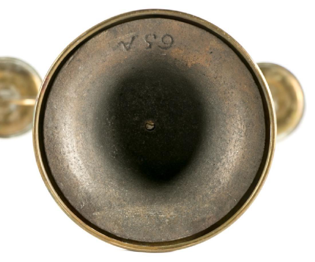 Pair, Art Nouveau Openwork Brass Candelabras - 2