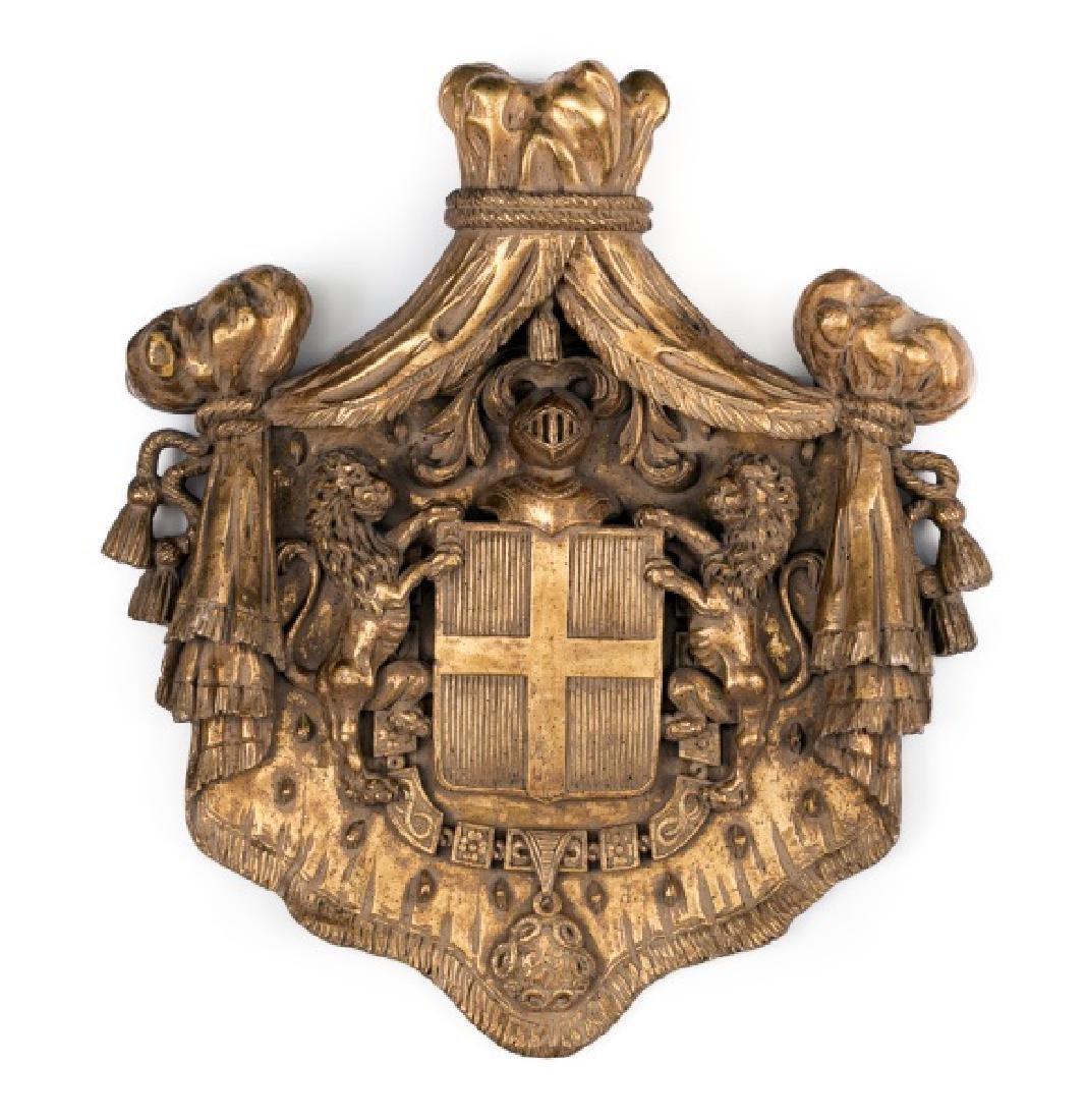 Gilt & Faux Painted Cast Plaster Heraldic Crest