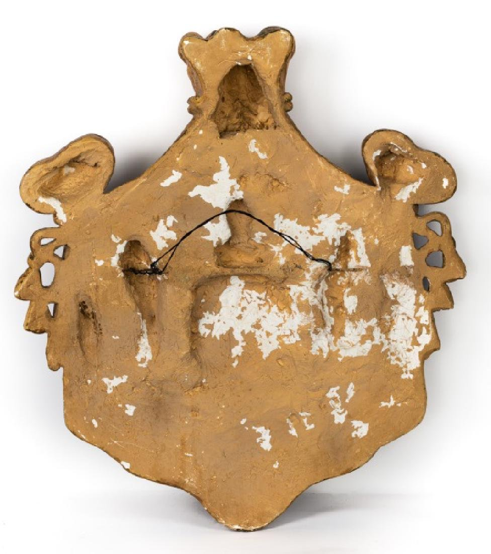 Gilt & Faux Painted Cast Plaster Heraldic Crest - 2