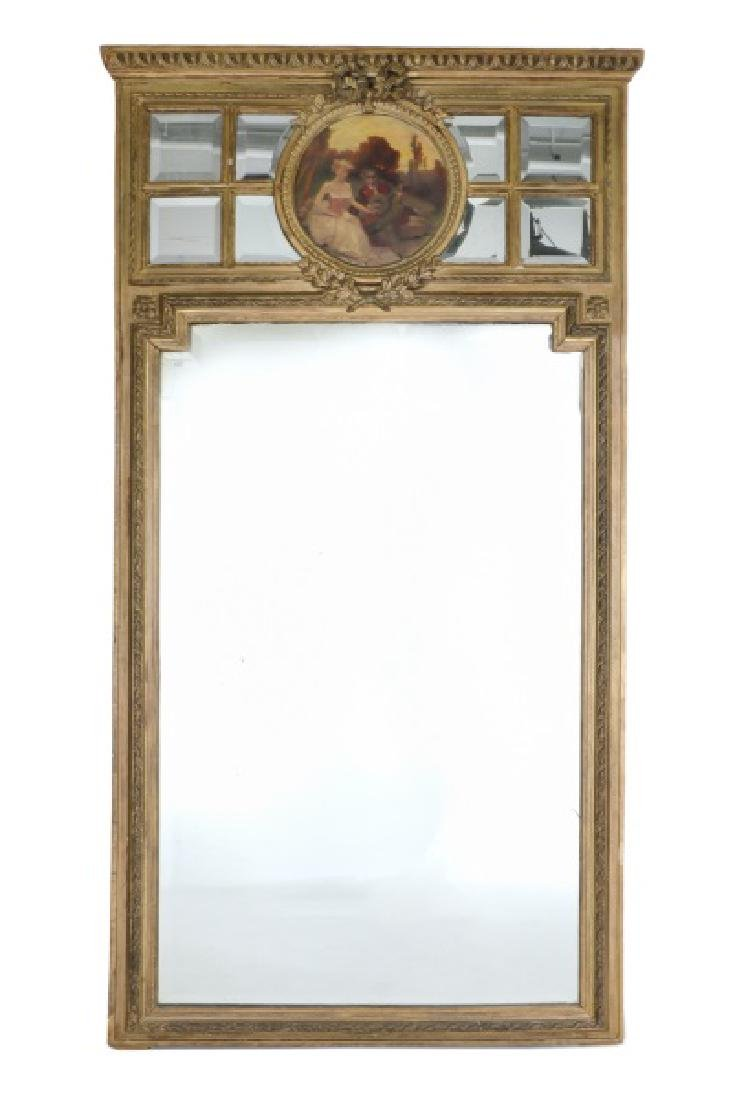 19th C. Continental Giltwood Trumeau Mirror