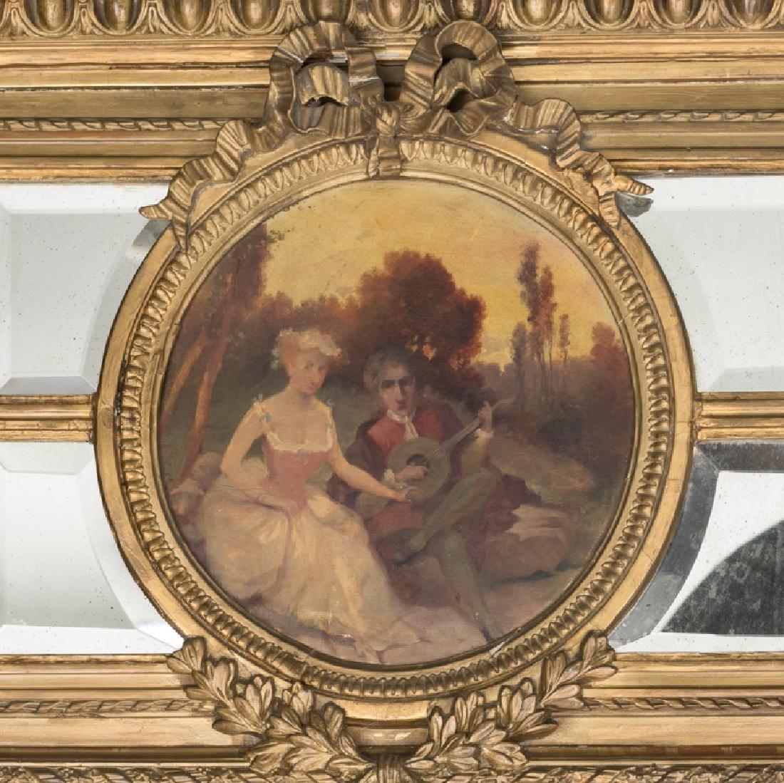 19th C. Continental Giltwood Trumeau Mirror - 3