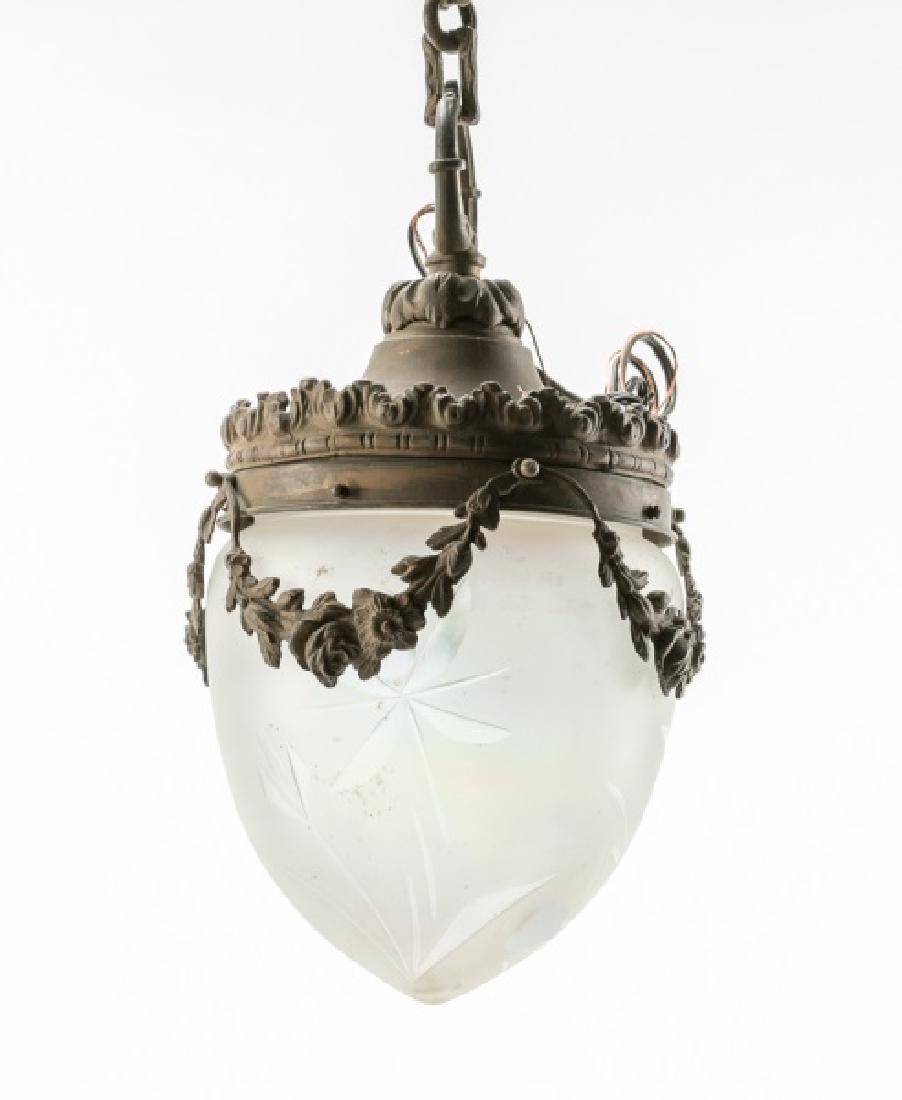 Beaux Arts Iridescent Glass Pendant Lamp