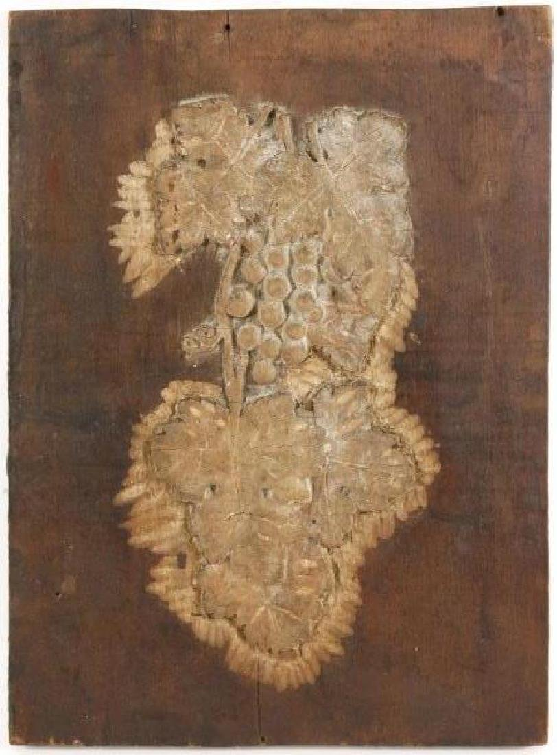 Carved Wood Panel w/ Grape Clusters & Vines