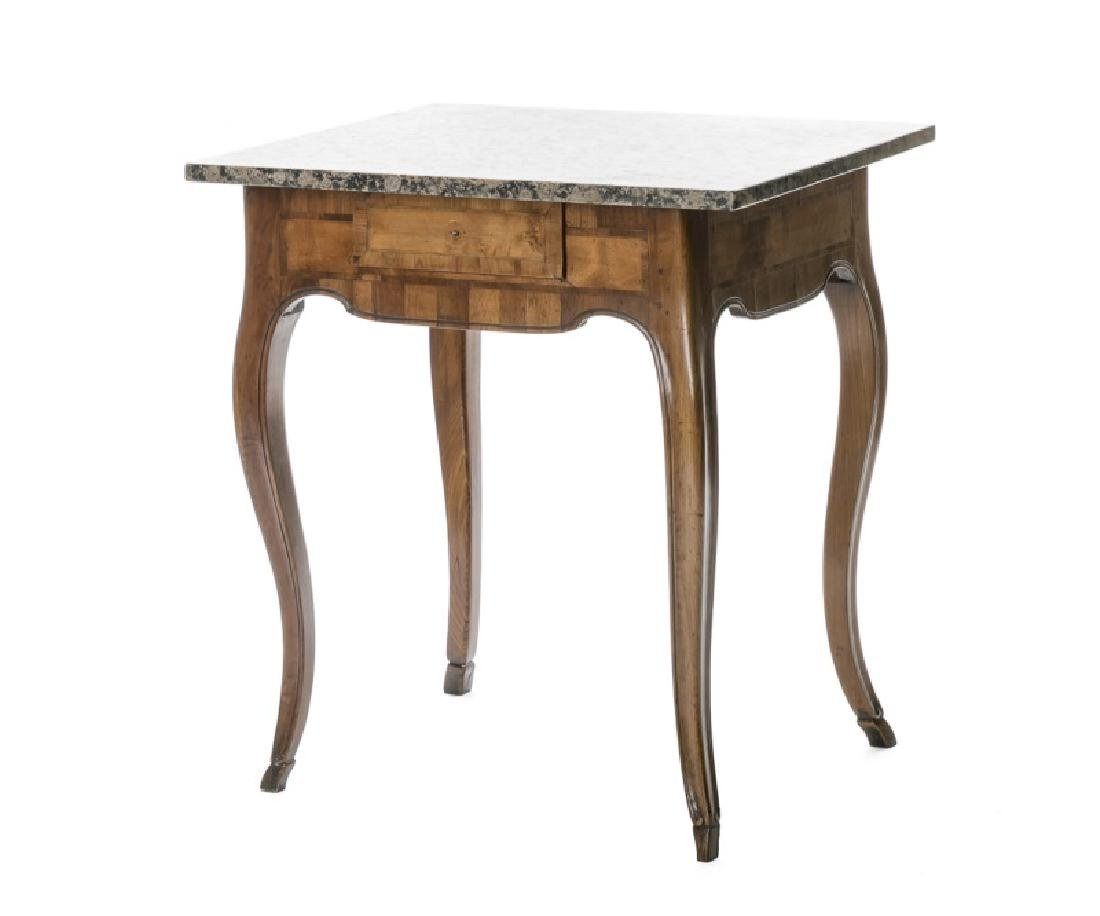 18th C. German Rococo Walnut Table w/ Marble Top