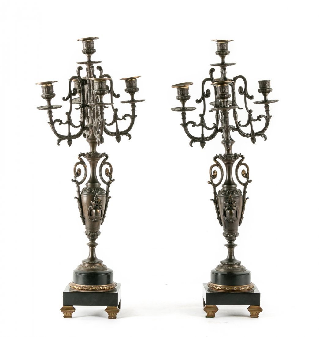 Pair of Empire Style Bronze 5 Light Candelabras