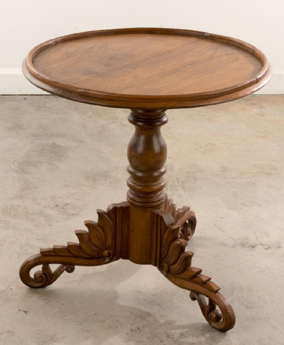 Continental Transitional Cherry Wood Tripod Table