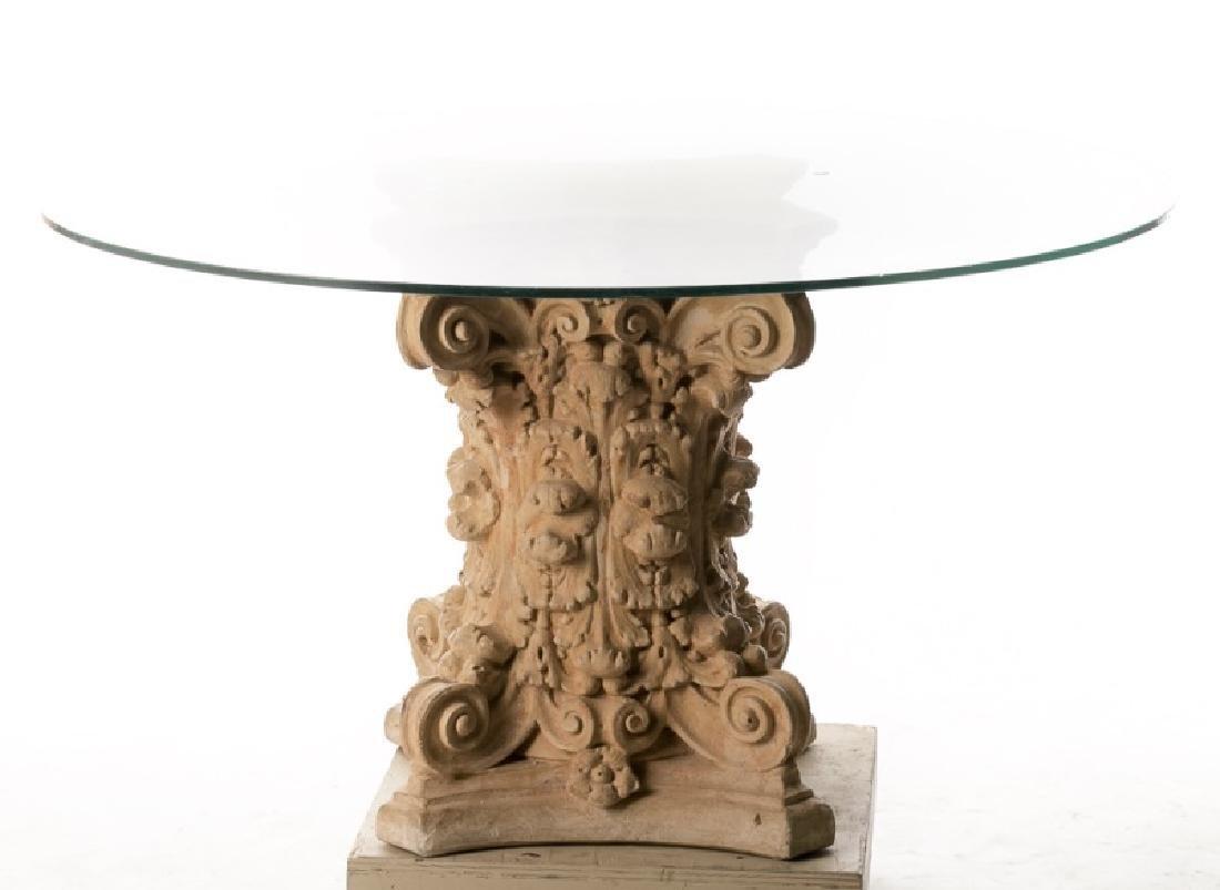 Terra Cotta Corinthian Capital Table w/ Glass Top