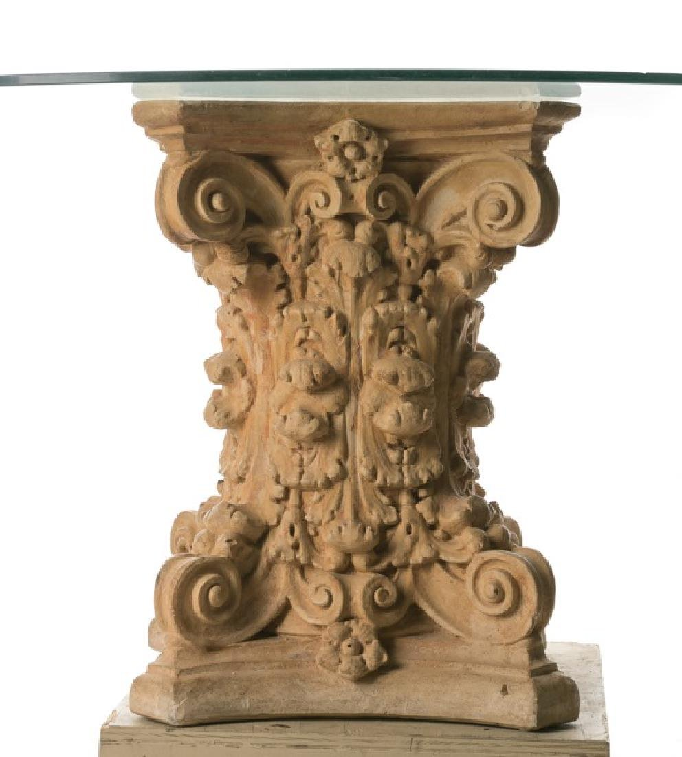 Terra Cotta Corinthian Capital Table w/ Glass Top - 2