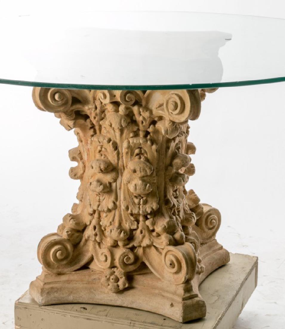 Terra Cotta Corinthian Capital Table w/ Glass Top - 3