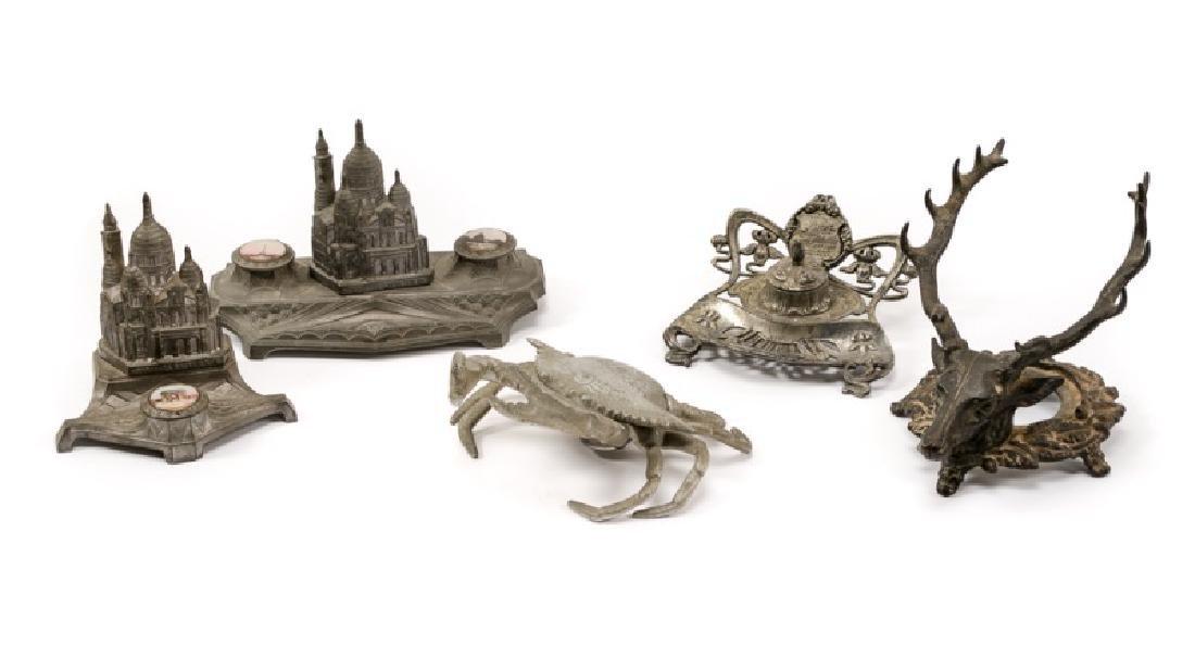 Group of Five Various White Metal Inkwells