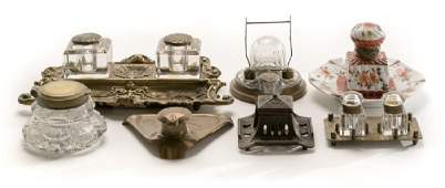 Group of Seven Various Ink Wells