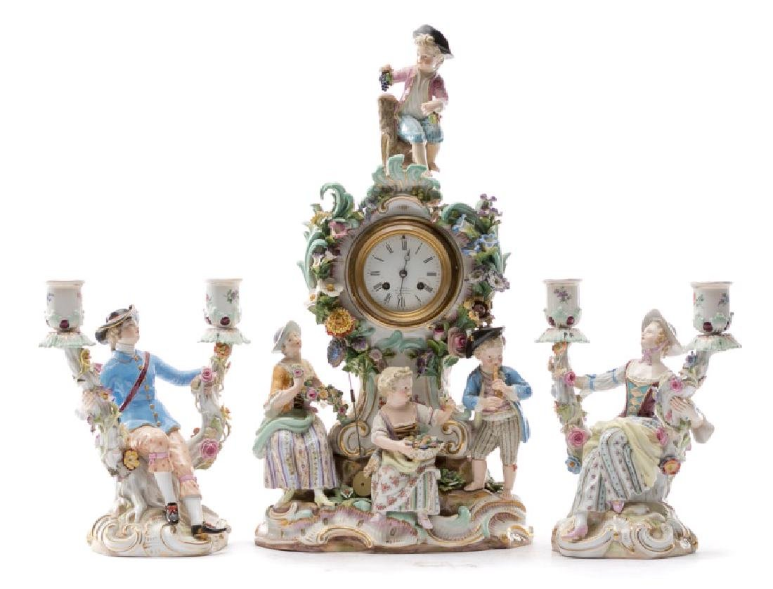 Meissen 3 PC Porcelain Clock Garniture Set