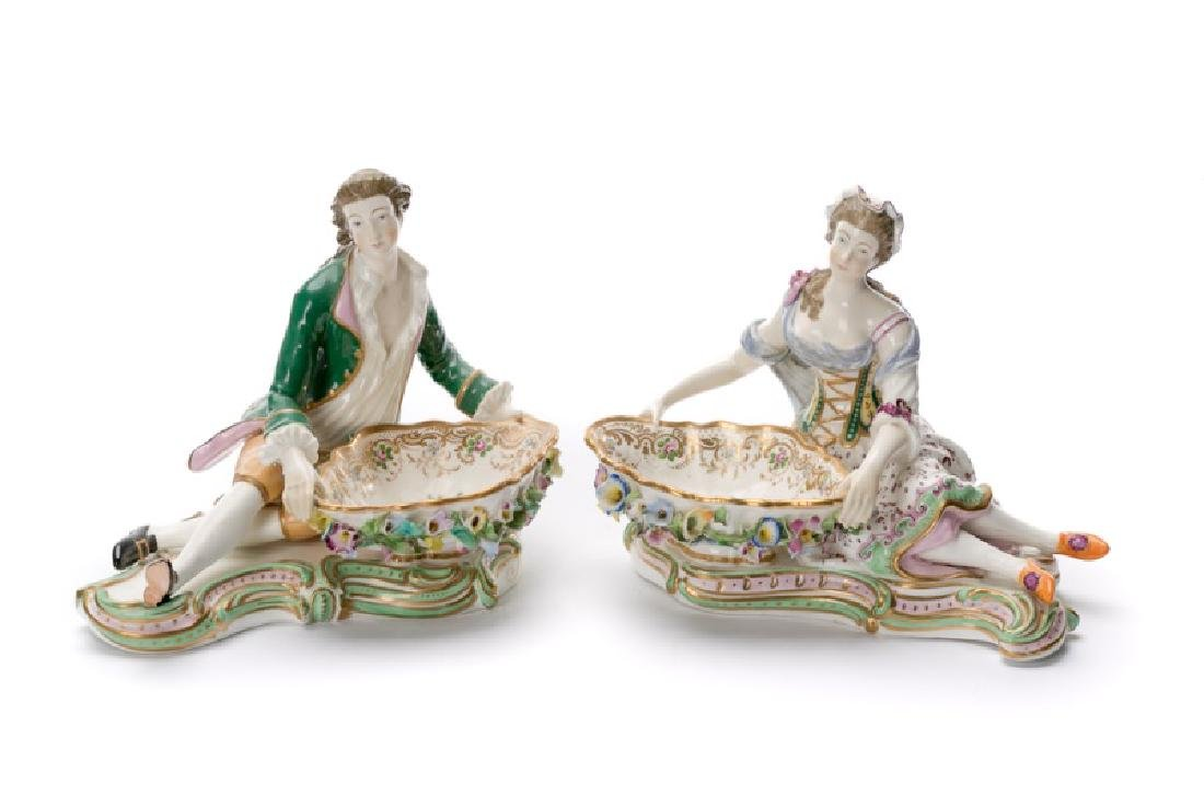 Pair of 19th C. Porcelain Dishes with Figures