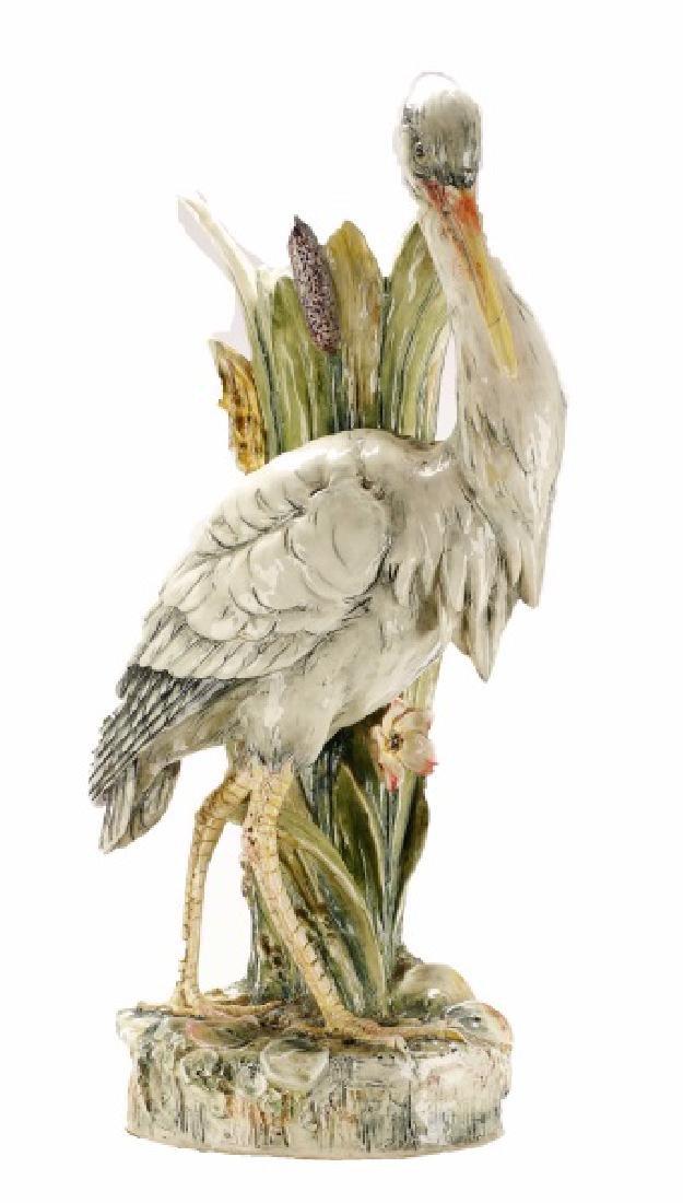 Impressive Majolica Figural Heron Floor Vase