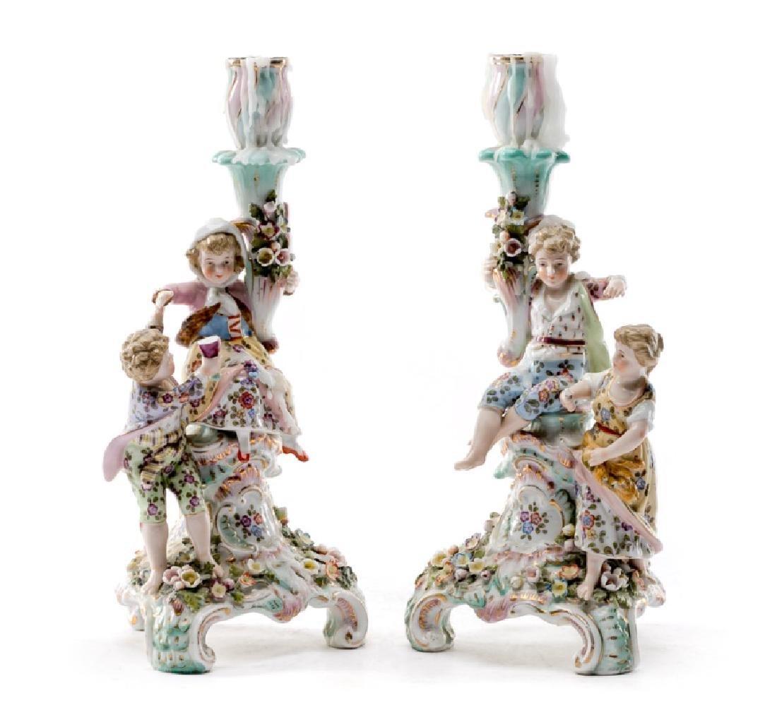 Pair of Sitzendorf Porcelain Figural Candle Sticks