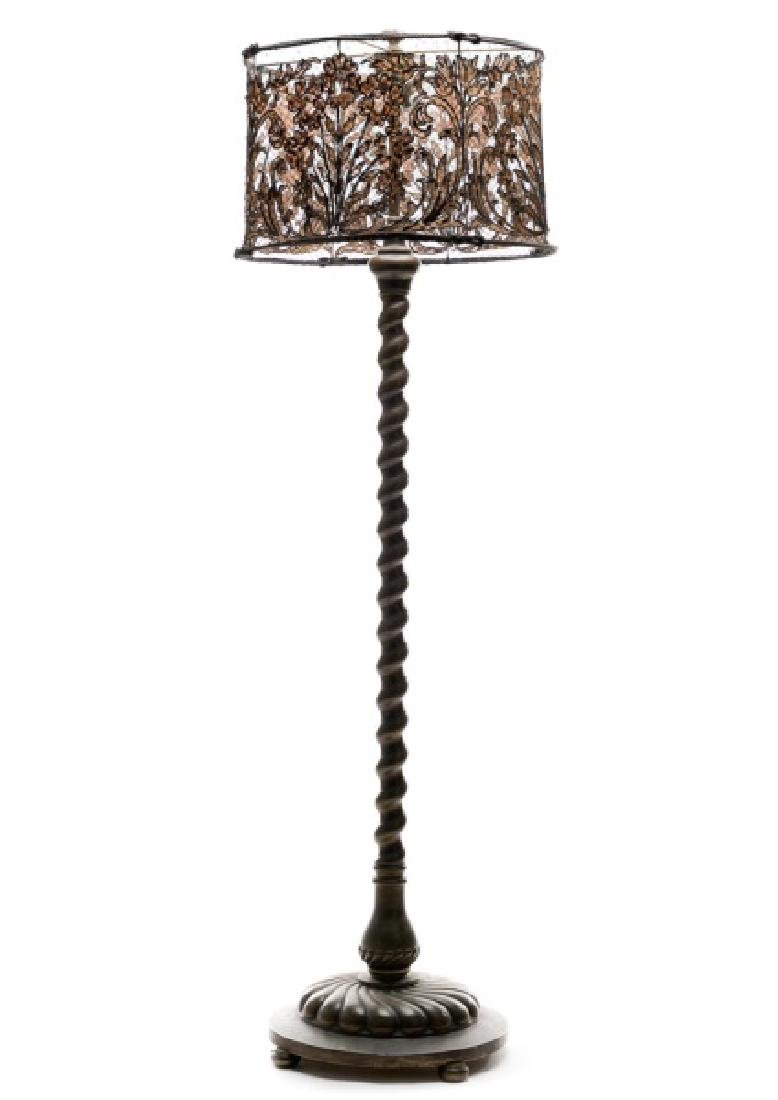 Italian Baroque Style Cast Brass Floor Lamp