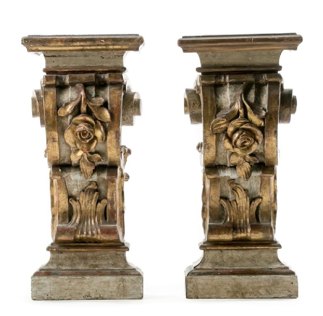Pair of Italian Gilt Wood Polychrome Corbels