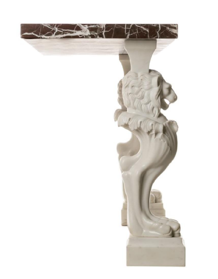 Venetian Carved Marble Lion Console Table - 2