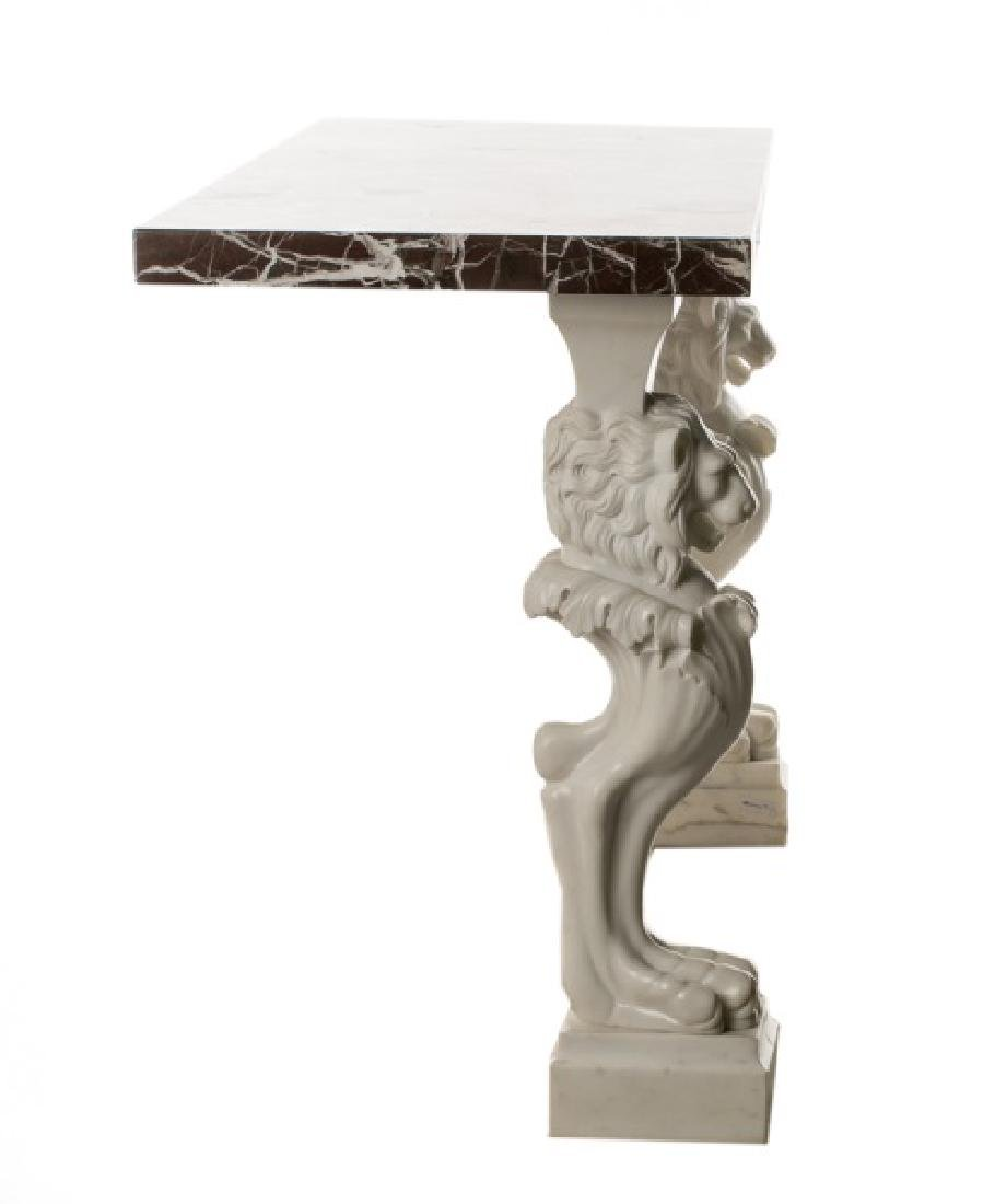 Venetian Carved Marble Lion Console Table - 3