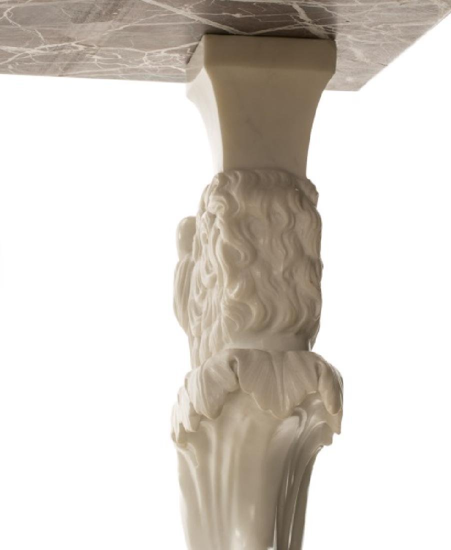 Venetian Carved Marble Lion Console Table - 5
