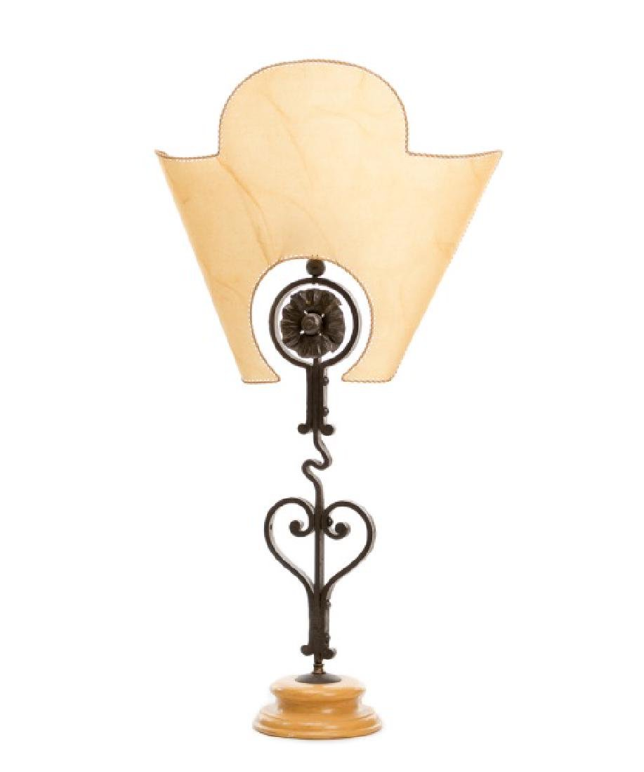 Italian Wrought Iron Table Lamp w/Parchment Shade