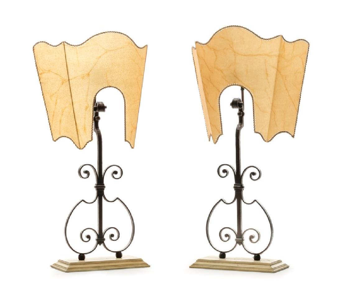 Pair, Italian Iron Table Lamps w/ Parchment Shades