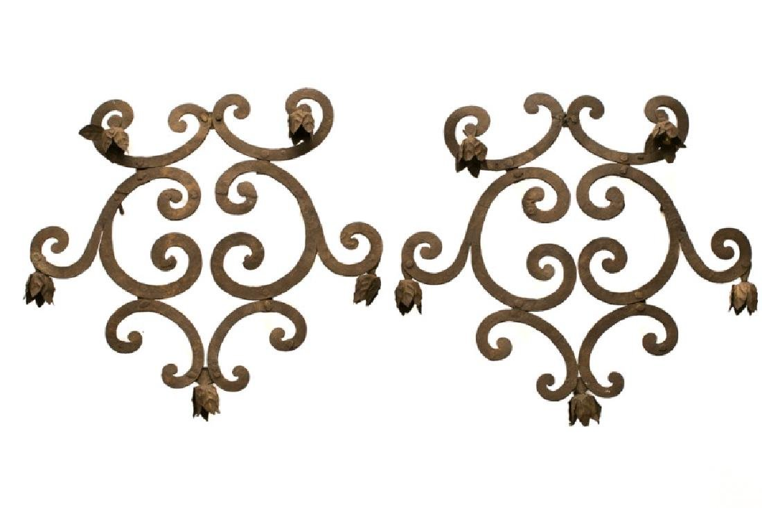 Pair, Italian Rococo Wrought Iron Candle Sconces