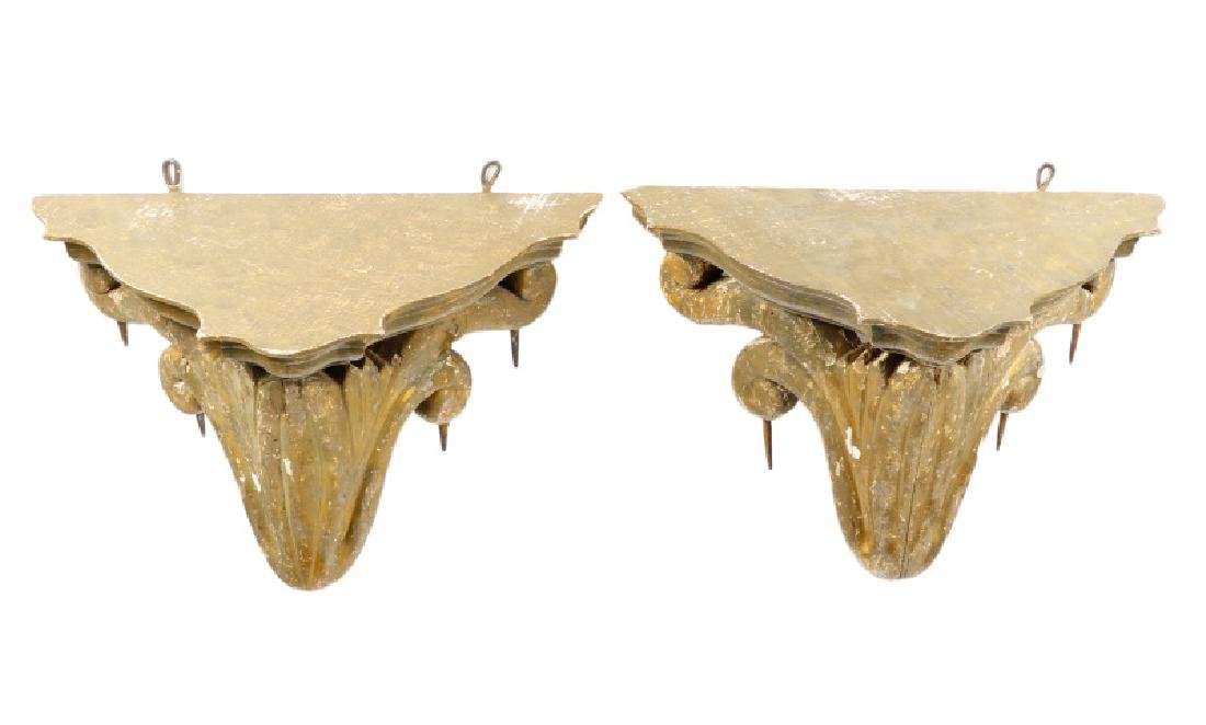 Pair of Italian Polychrome Decorated Wall Brackets - 4