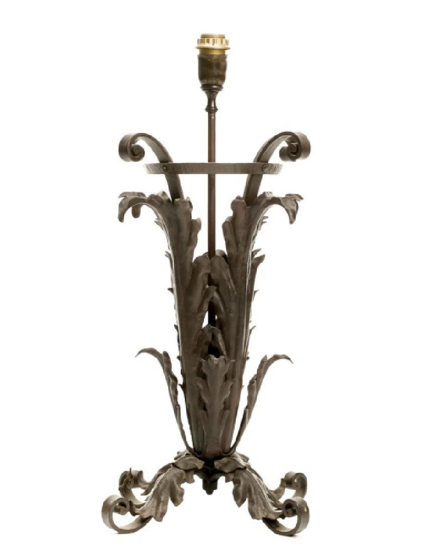 Italian Wrought Iron Acanthus Leaf Table Lamp