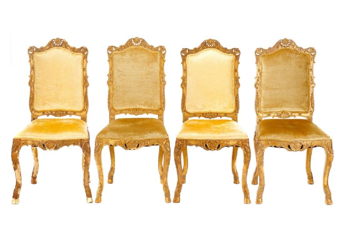 Set, 4 Florentine Giltwood Dining Chairs