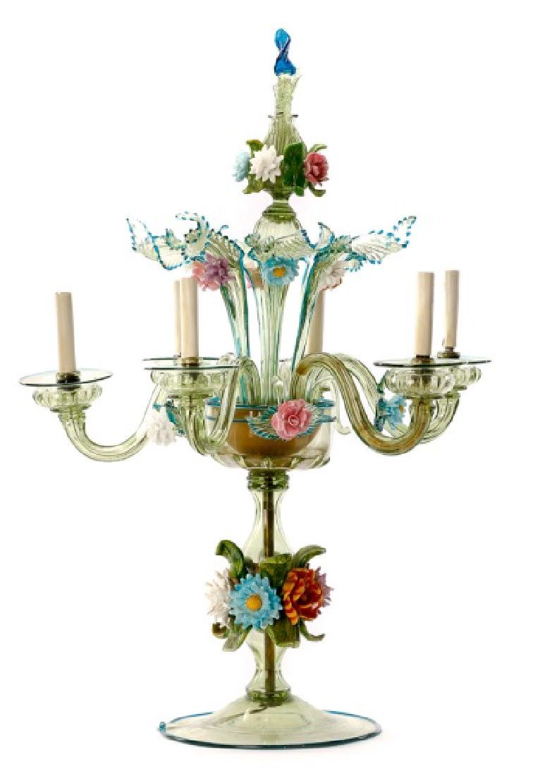 Murano Glass Six Light Candelabra Lamp