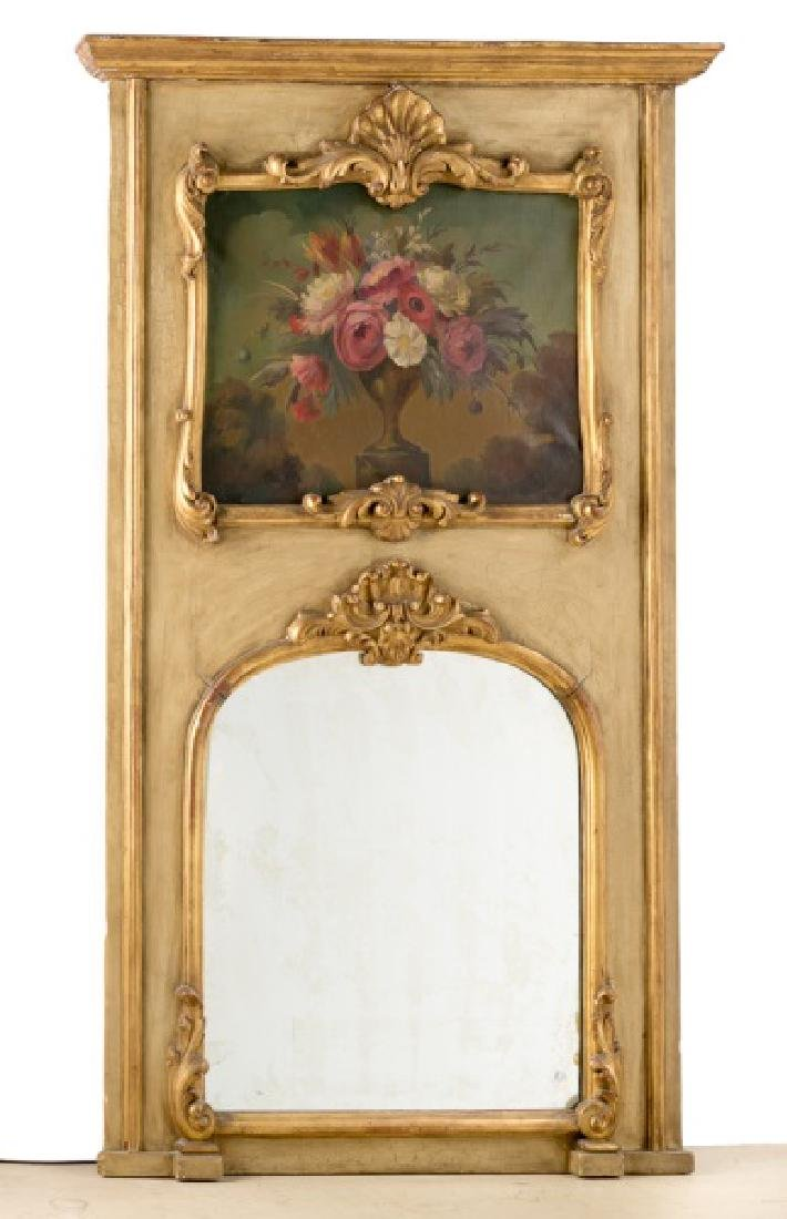 Italian Trumeau Mirror With Floral Oil on Canvas
